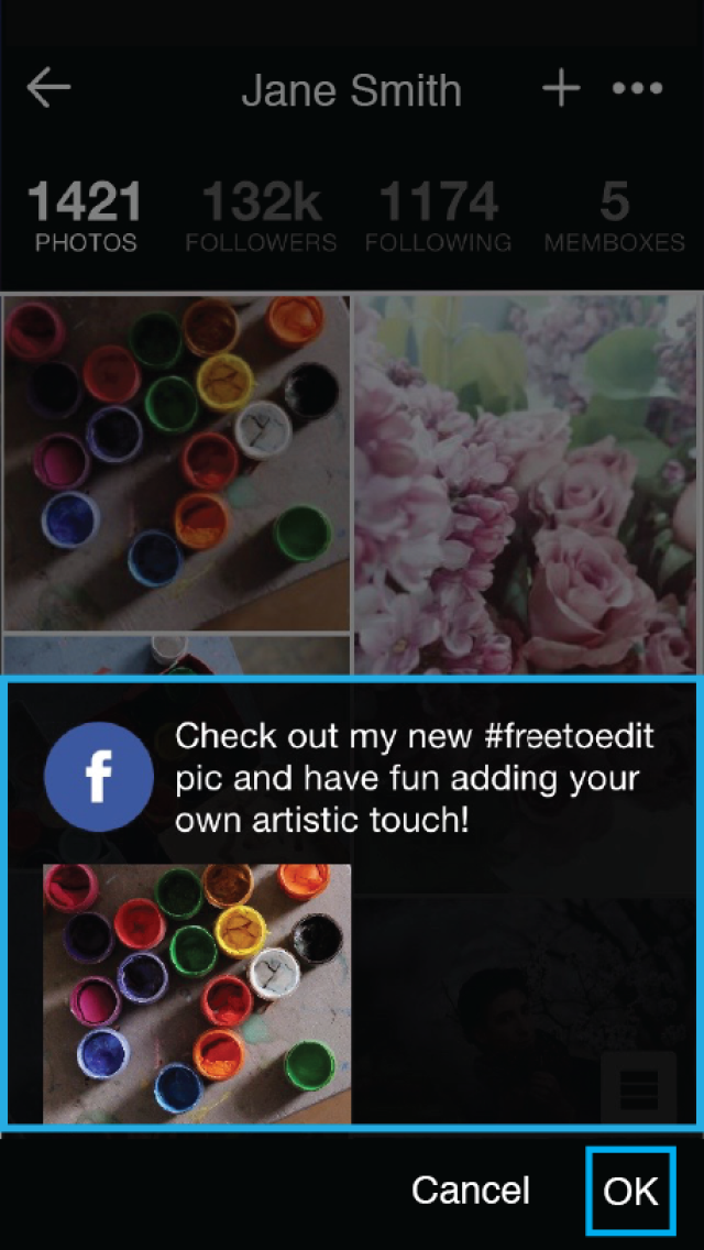 PicsArt's #freetoedit collaborate with Facebook friends