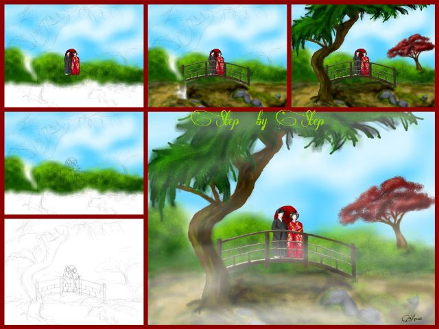 step by step bridge drawing