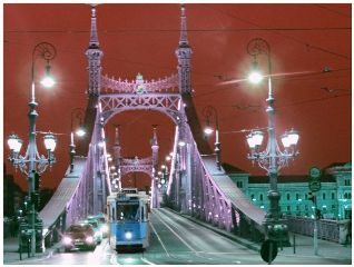 photography budapest night red blue