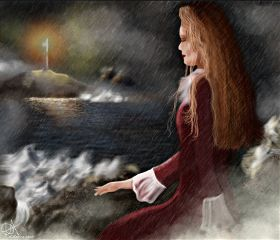 drawing art sea lady lighthouse
