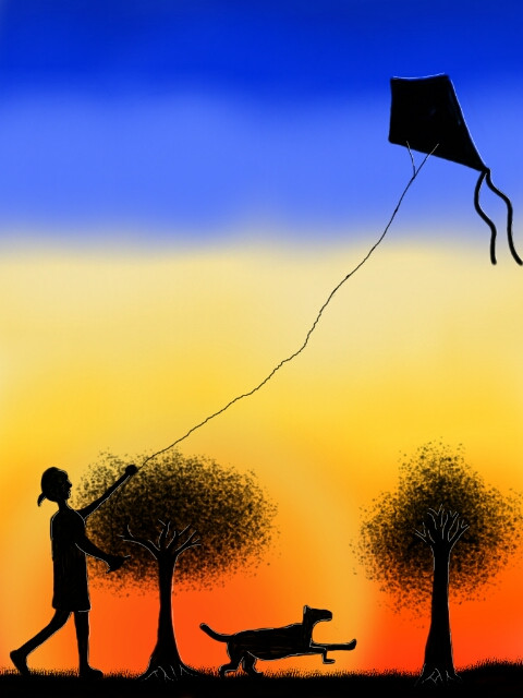 These girl enjoy playing kite with a dog that accompanied her at sunset #DCKITE #dckite