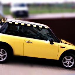 yellow mini cooper cute love