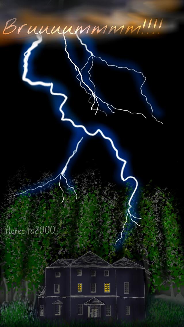 Una noche de tormenta  - One stormy night. (You can see my tutorial in my gallery)  #dcnightsky #drawing #digitaldrawing #myart